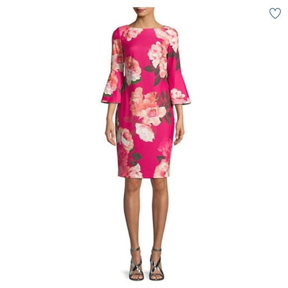 040b35d6 Calvin Klein Dresses   Floral Bell Sleeve Dress Nwt   Poshmark